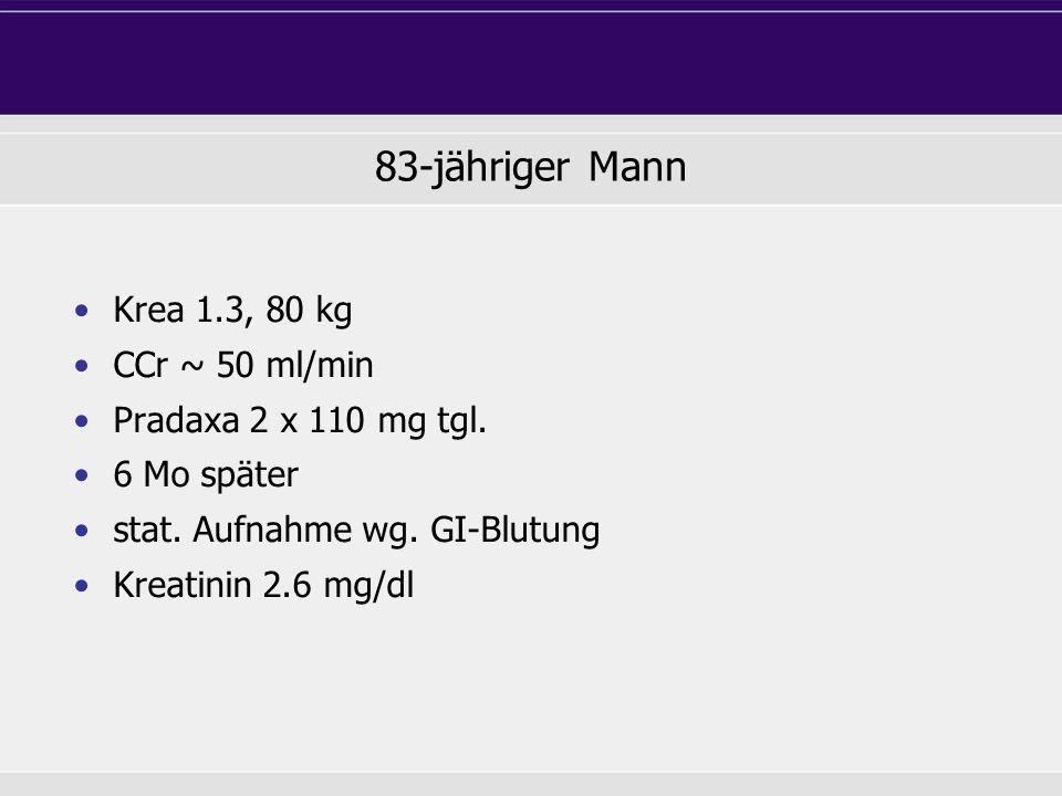 83-jähriger Mann Krea 1.3, 80 kg CCr ~ 50 ml/min Pradaxa 2 x 110 mg tgl. 6 Mo später stat. Aufnahme wg. GI-Blutung Kreatinin 2.6 mg/dl