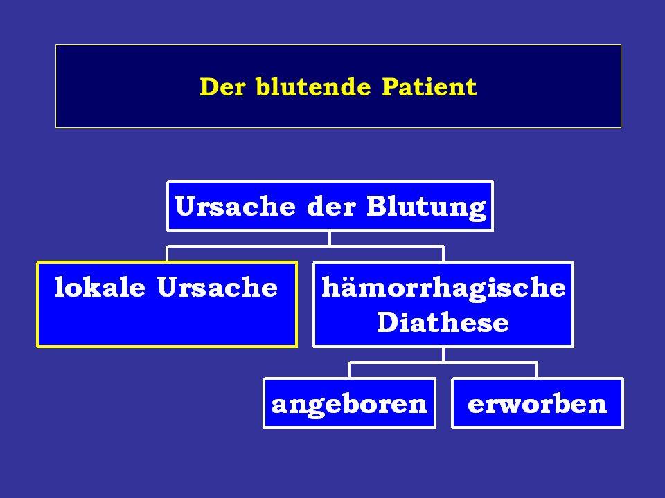 Globale Labortests partielle Thromboplastinzeit (PTT) Prothrombinzeit (PTZ) Thrombozytenzahl Fibrinogen Thrombinzeit (TZ) Blutungszeit (Simplate II, PFA-100)