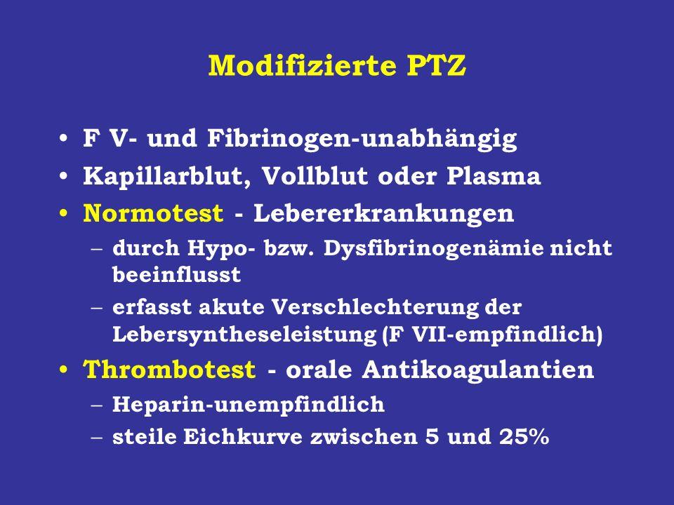 Modifizierte PTZ F V- und Fibrinogen-unabhängig Kapillarblut, Vollblut oder Plasma Normotest - Lebererkrankungen – durch Hypo- bzw. Dysfibrinogenämie