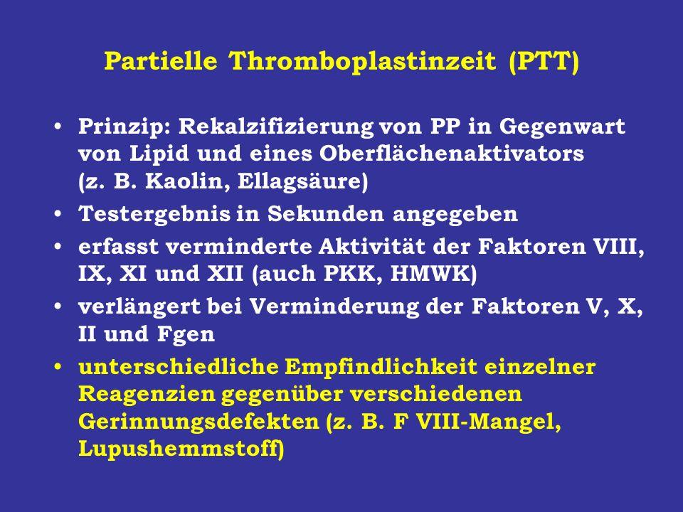 Partielle Thromboplastinzeit (PTT) Prinzip: Rekalzifizierung von PP in Gegenwart von Lipid und eines Oberflächenaktivators (z. B. Kaolin, Ellagsäure)