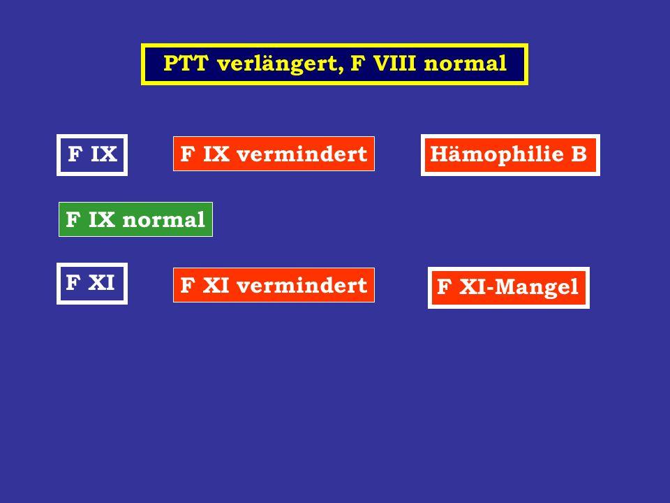 PTT verlängert, F VIII normal F IX F IX vermindert Hämophilie B F IX normal F XI F XI vermindert F XI-Mangel