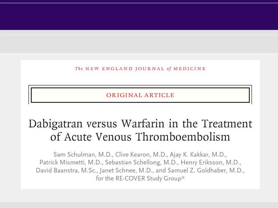 ER Initial parenteral therapy Single- dummy period Double-dummy period 6 months End of treatment Until INR 2.0 Warfarin (INR 2.0–3.0) Dabigatran placebo Warfarin placebo Dabigatran Warfarin placebo E= enrolment R= randomization LMWH/Dabigatran vs.