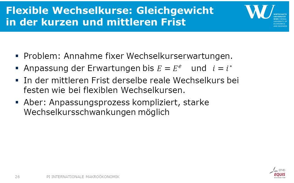 Flexible Wechselkurse: Gleichgewicht in der kurzen und mittleren Frist PI INTERNATIONALE MAKROÖKONOMIK26