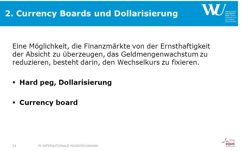 2. Currency Boards und Dollarisierung Eine Möglichkeit, die Finanzmärkte von der Ernsthaftigkeit der Absicht zu überzeugen, das Geldmengenwachstum zu