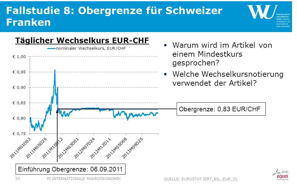 Fallstudie 8: Obergrenze für Schweizer Franken Täglicher Wechselkurs EUR-CHF Warum wird im Artikel von einem Mindestkurs gesprochen? Welche Wechselkur
