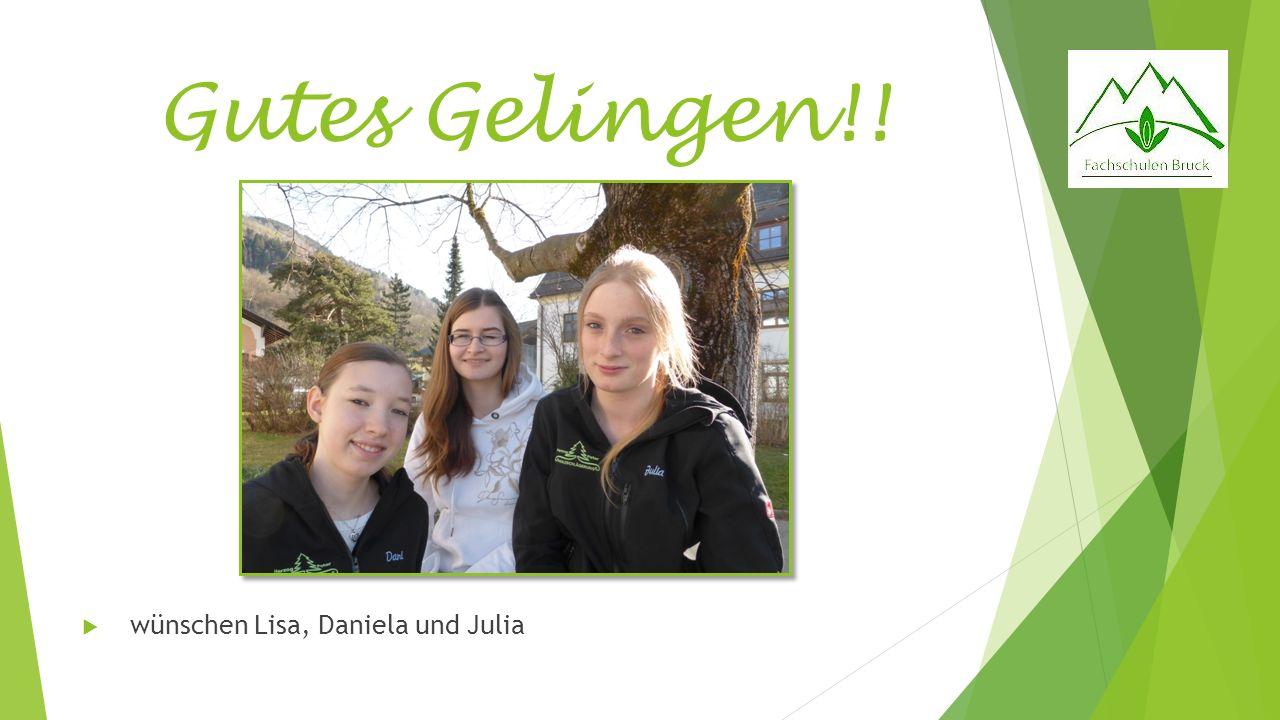 Gutes Gelingen!! wünschen Lisa, Daniela und Julia