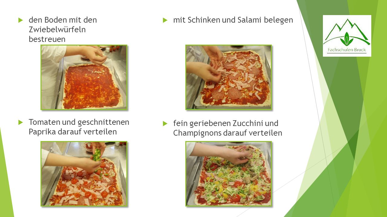 den Boden mit den Zwiebelwürfeln bestreuen Tomaten und geschnittenen Paprika darauf verteilen mit Schinken und Salami belegen fein geriebenen Zucchini und Champignons darauf verteilen