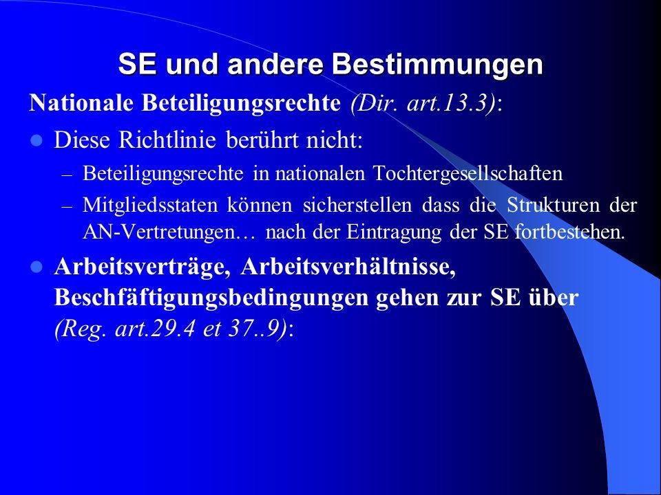 SE und andere Bestimmungen EBR (Dir. art.13.1): Kein EBR in der SE wenn eine Vereinbarung zustande kommt oder die Auffangregelung in kraft tritt. EBR