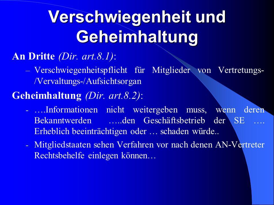 SE und andere Bestimmungen Verfahrensmissbrauch (Dir. art.11): Massnahmen um zu verhindern, dass die SE dazu missbraucht wird, Arbeitnehmern Beteiligu