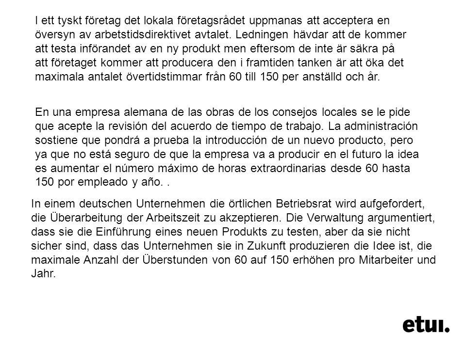En una empresa alemana de las obras de los consejos locales se le pide que acepte la revisión del acuerdo de tiempo de trabajo.