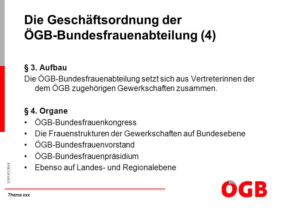 Thema xxx 11/19.05.2014 Die Geschäftsordnung der ÖGB-Bundesfrauenabteilung (4) § 3. Aufbau Die ÖGB-Bundesfrauenabteilung setzt sich aus Vertreterinnen