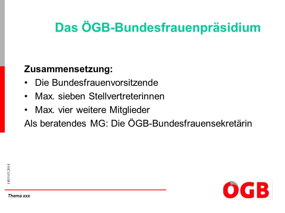 Thema xxx 14/19.05.2014 Das ÖGB-Bundesfrauenpräsidium Zusammensetzung: Die Bundesfrauenvorsitzende Max. sieben Stellvertreterinnen Max. vier weitere M