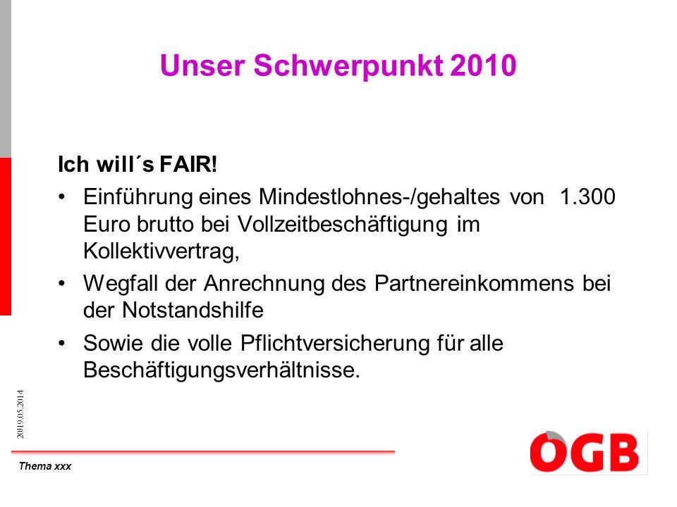 Thema xxx 20/19.05.2014 Unser Schwerpunkt 2010 Ich will´s FAIR! Einführung eines Mindestlohnes-/gehaltes von 1.300 Euro brutto bei Vollzeitbeschäftigu
