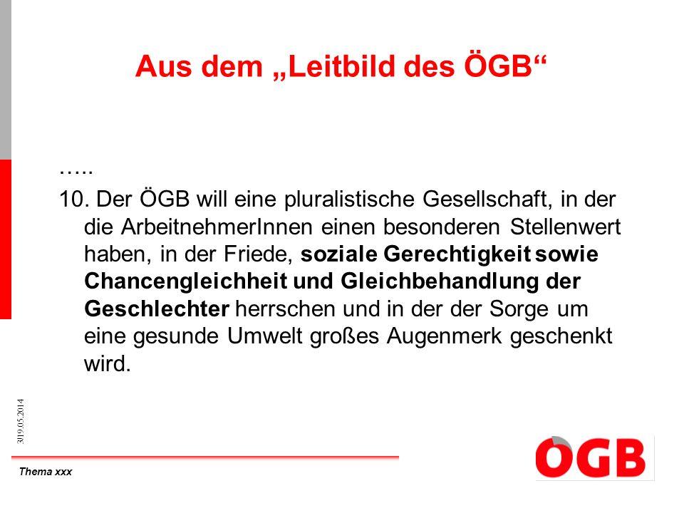 Thema xxx 3/19.05.2014 Aus dem Leitbild des ÖGB ….. 10. Der ÖGB will eine pluralistische Gesellschaft, in der die ArbeitnehmerInnen einen besonderen S