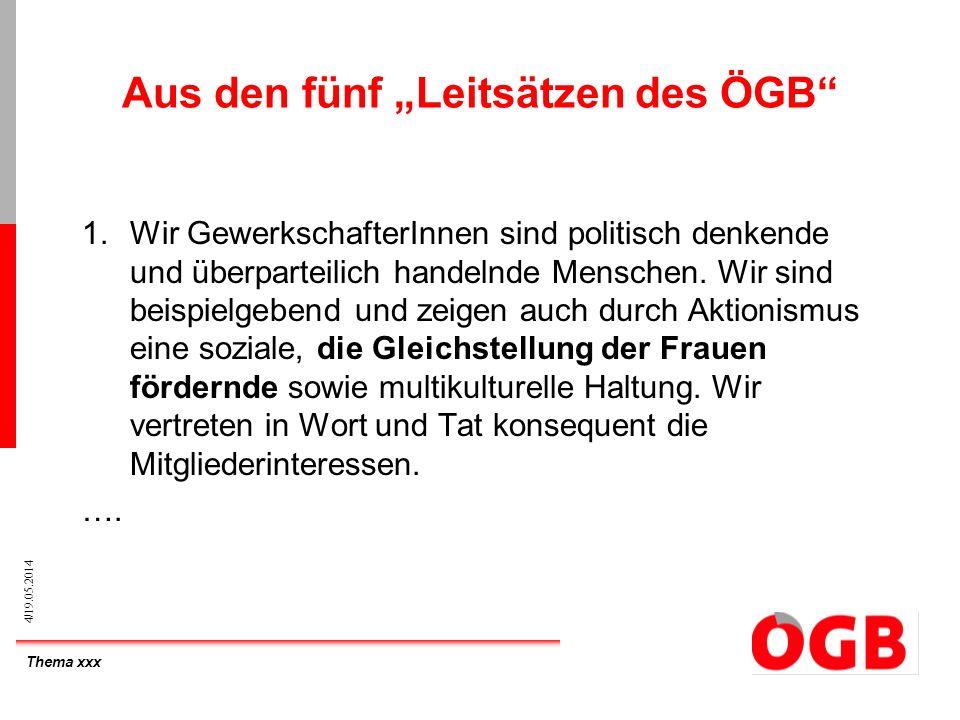 Thema xxx 4/19.05.2014 Aus den fünf Leitsätzen des ÖGB 1.Wir GewerkschafterInnen sind politisch denkende und überparteilich handelnde Menschen. Wir si