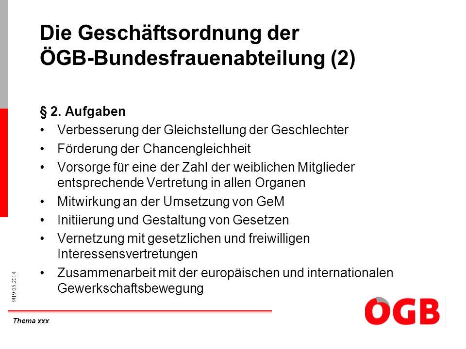 Thema xxx 9/19.05.2014 Die Geschäftsordnung der ÖGB-Bundesfrauenabteilung (2) § 2. Aufgaben Verbesserung der Gleichstellung der Geschlechter Förderung