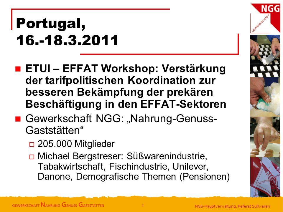 NGG-Hauptverwaltung, Referat Süßwaren Portugal, 16.-18.3.2011 ETUI – EFFAT Workshop: Verstärkung der tarifpolitischen Koordination zur besseren Bekämp