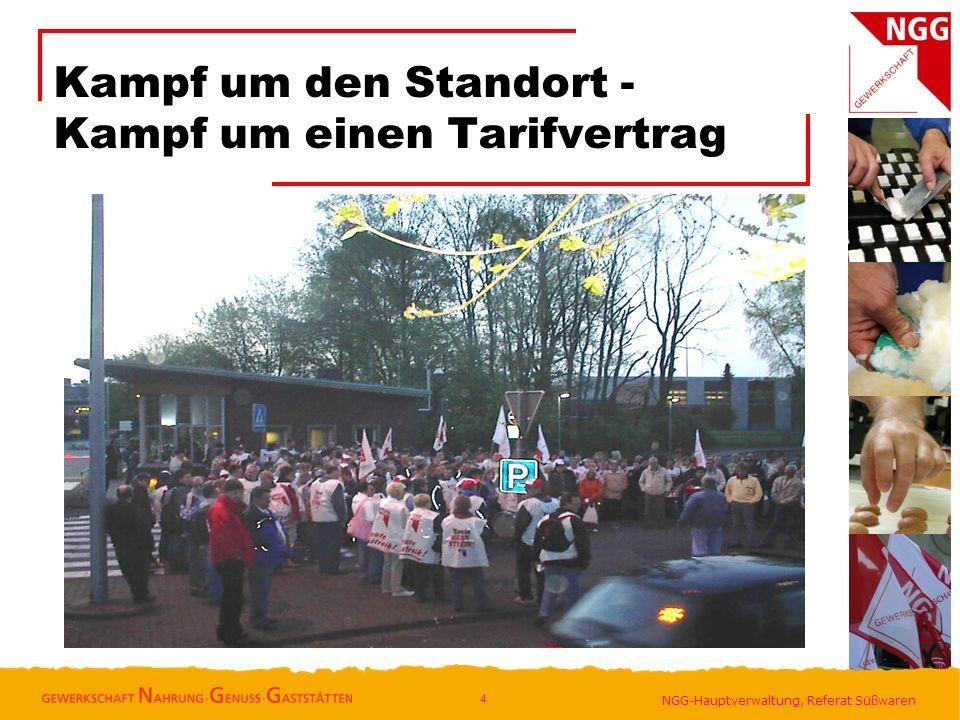 NGG-Hauptverwaltung, Referat Süßwaren Kampf um den Standort - Kampf um einen Tarifvertrag 4