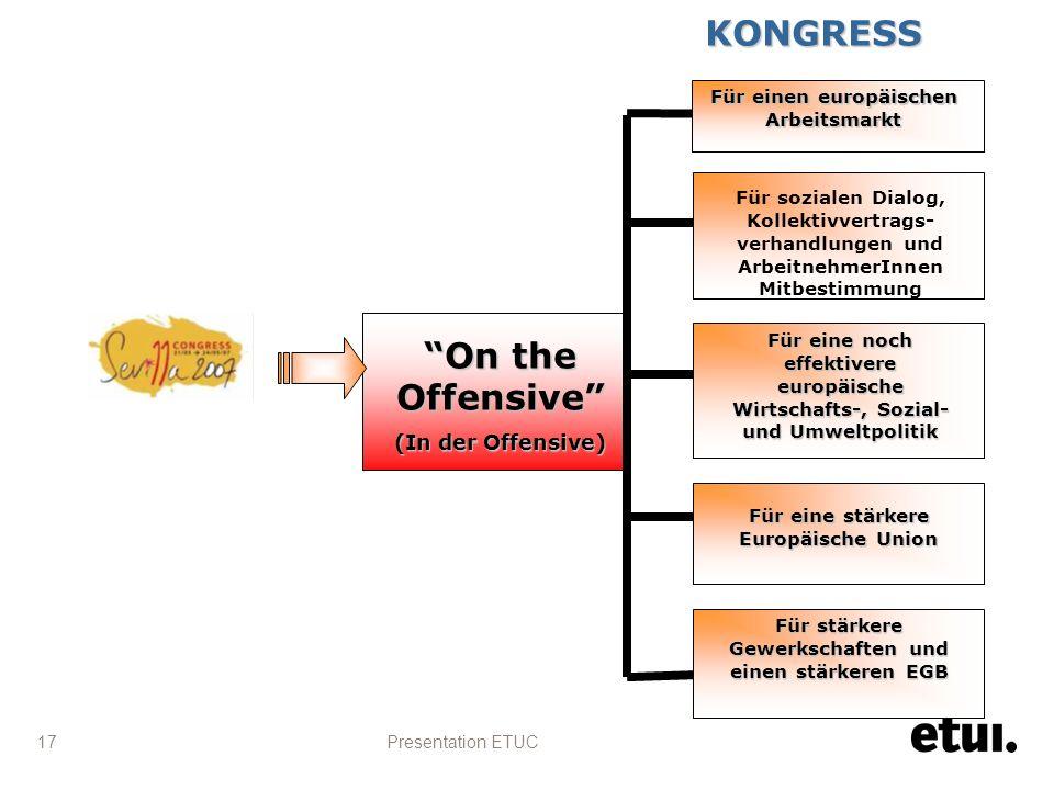 Presentation ETUC 17 On the Offensive (In der Offensive) Für einen europäischen Arbeitsmarkt Für sozialen Dialog, Kollektivvertrags- verhandlungen und ArbeitnehmerInnen Mitbestimmung Für eine stärkere Europäische Union Für eine noch effektivere europäische Wirtschafts-, Sozial- und Umweltpolitik Für stärkere Gewerkschaften und einen stärkeren EGB KONGRESS KONGRESS