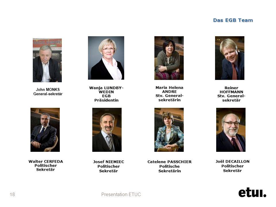 Presentation ETUC 18 Das EGB Team Wanja LUNDBY- WEDIN EGBPräsidentin John MONKS General-sekretär Maria Helena ANDRE Stv.