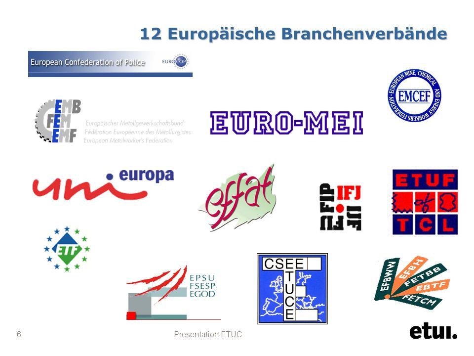 Presentation ETUC 6 12 Europäische Branchenverbände