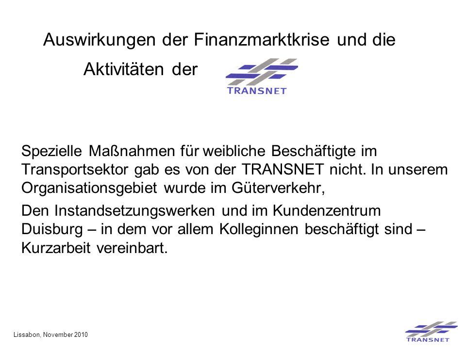 Auswirkungen der Finanzmarktkrise und die Aktivitäten der Spezielle Maßnahmen für weibliche Beschäftigte im Transportsektor gab es von der TRANSNET nicht.