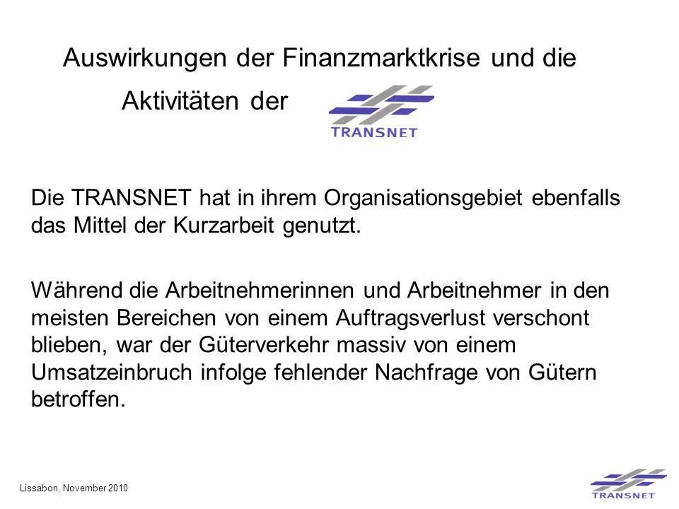 Auswirkungen der Finanzmarktkrise und die Aktivitäten der Die TRANSNET hat in ihrem Organisationsgebiet ebenfalls das Mittel der Kurzarbeit genutzt.