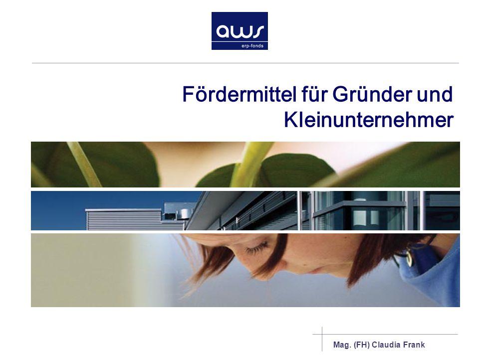 Mag. (FH) Claudia Frank Fördermittel für Gründer und Kleinunternehmer