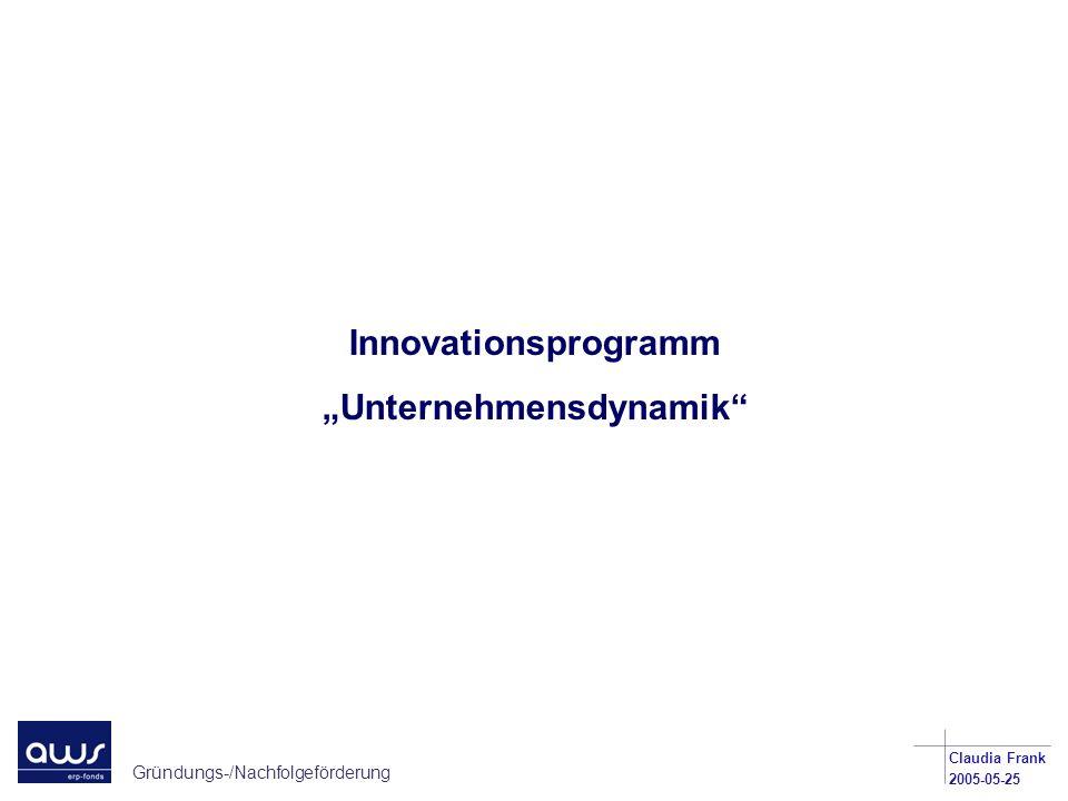 Gründungs-/Nachfolgeförderung Claudia Frank 2005-05-25 Innovationsprogramm Unternehmensdynamik