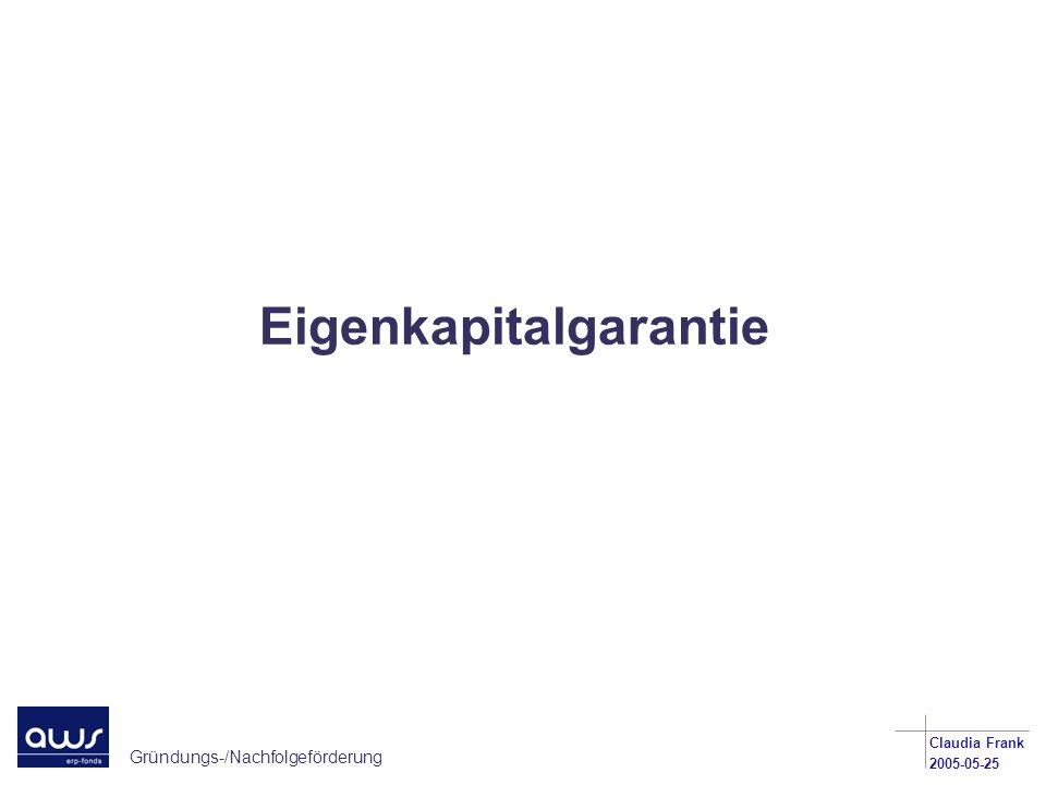 Gründungs-/Nachfolgeförderung Claudia Frank 2005-05-25 Eigenkapitalgarantie