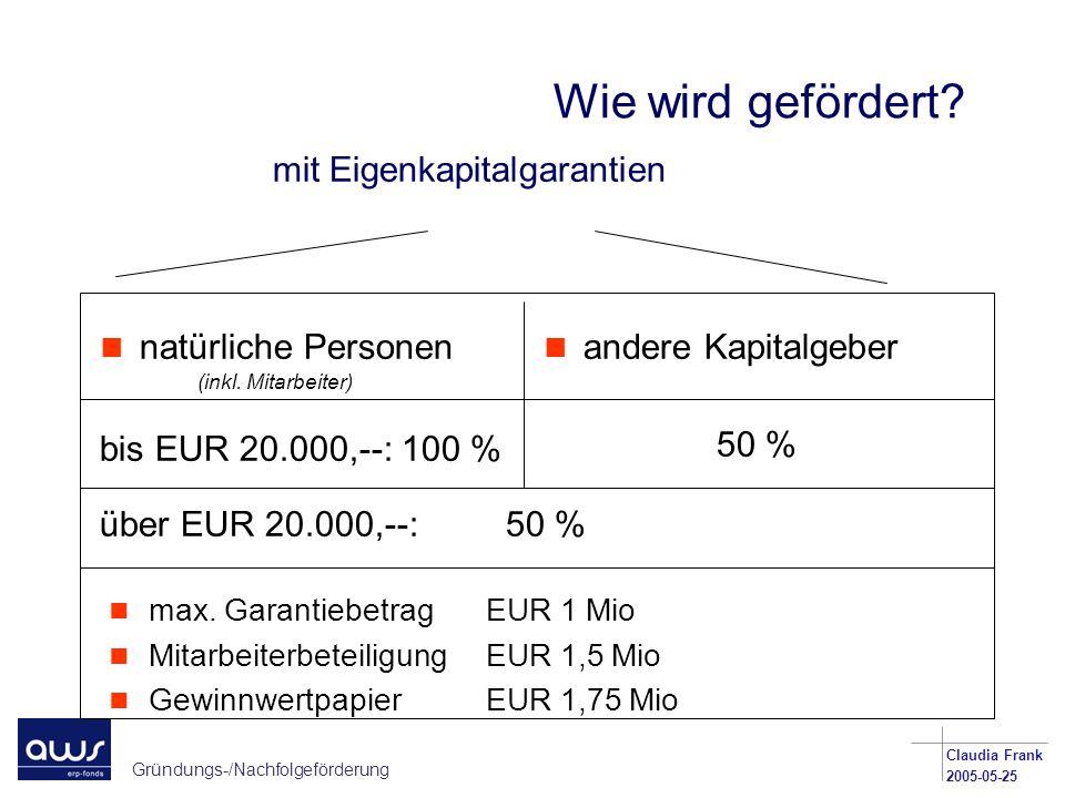 Gründungs-/Nachfolgeförderung Claudia Frank 2005-05-25 Wie wird gefördert? mit Eigenkapitalgarantien n natürliche Personen bis EUR 20.000,--: 100 % n