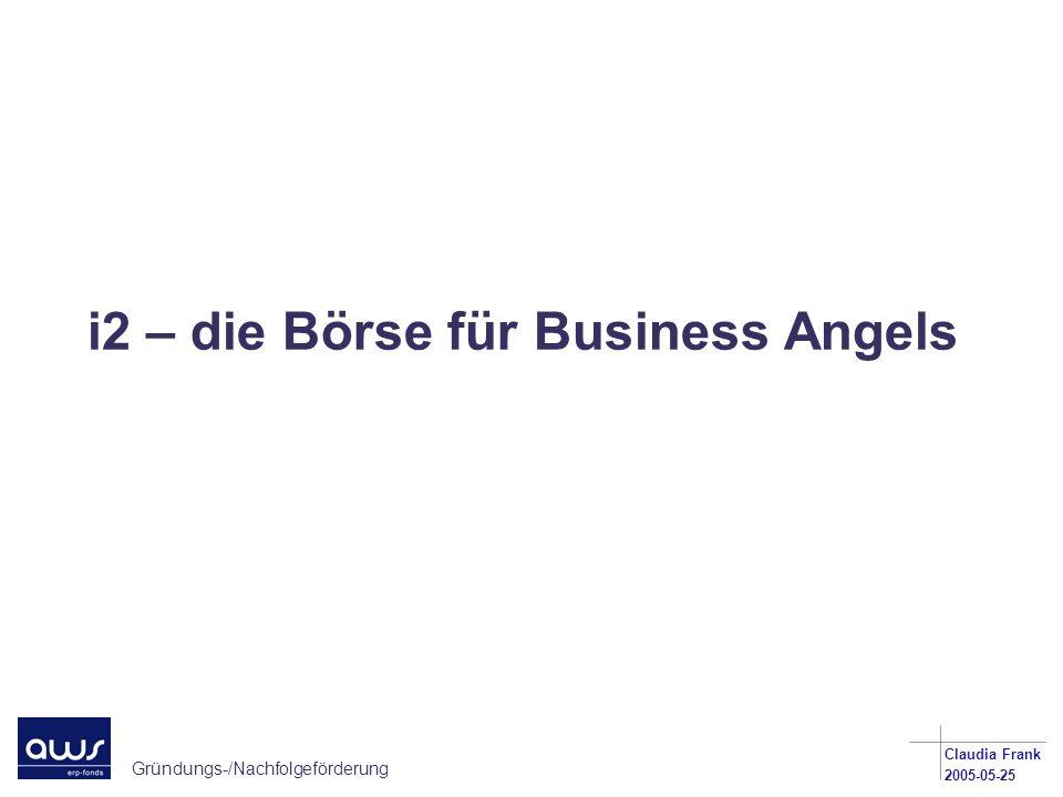 Gründungs-/Nachfolgeförderung Claudia Frank 2005-05-25 i2 – die Börse für Business Angels