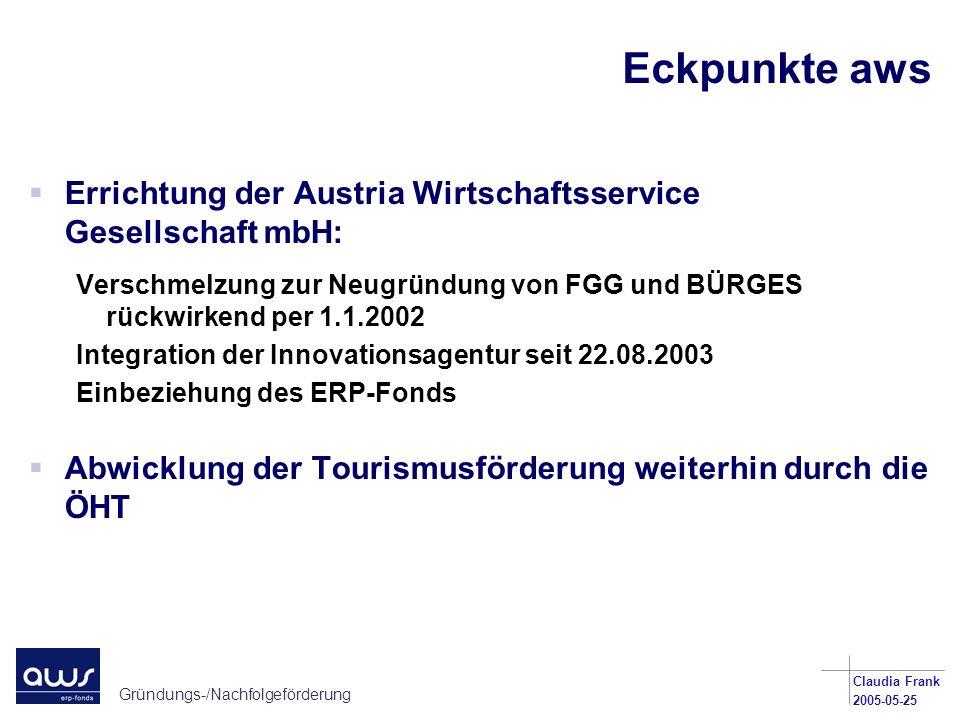 Gründungs-/Nachfolgeförderung Claudia Frank 2005-05-25 Eckpunkte aws Errichtung der Austria Wirtschaftsservice Gesellschaft mbH: Verschmelzung zur Neu