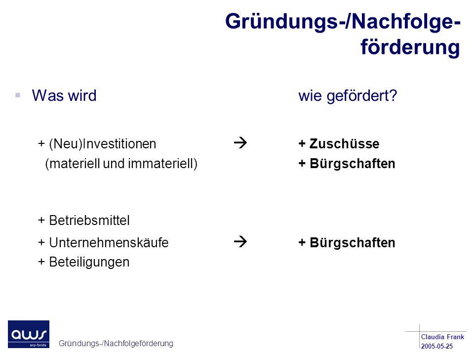 Gründungs-/Nachfolgeförderung Claudia Frank 2005-05-25 Bürgschaften Investitionskredite für Finanzierungen bis EUR 1,25 Mio.