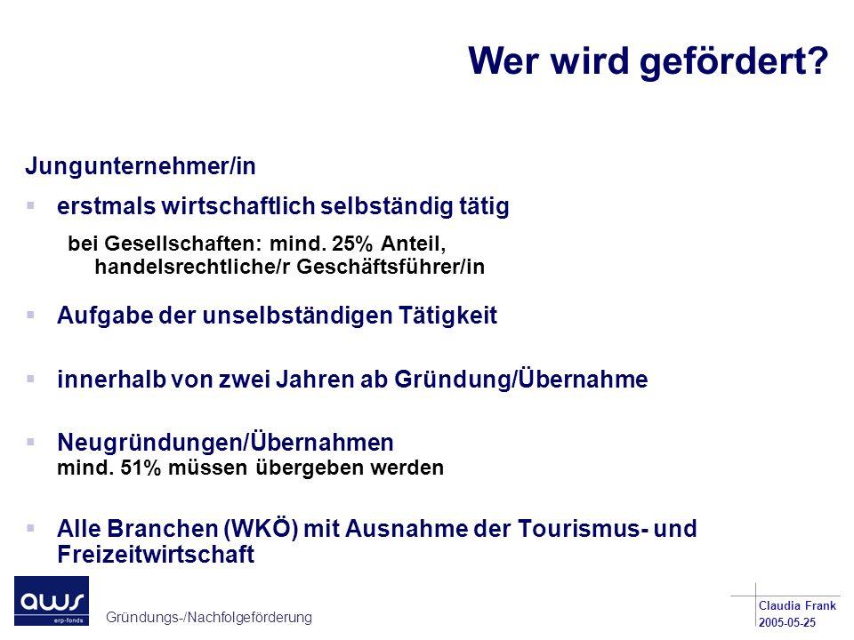 Gründungs-/Nachfolgeförderung Claudia Frank 2005-05-25 Wer wird gefördert? Jungunternehmer/in erstmals wirtschaftlich selbständig tätig bei Gesellscha