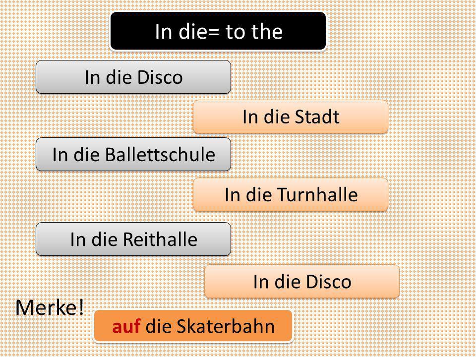 In die= to the In die Disco In die Stadt In die Ballettschule In die Turnhalle In die Reithalle In die Disco Merke.