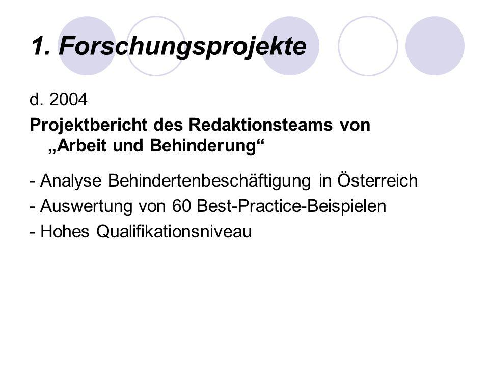 1. Forschungsprojekte d. 2004 Projektbericht des Redaktionsteams von Arbeit und Behinderung - Analyse Behindertenbeschäftigung in Österreich - Auswert