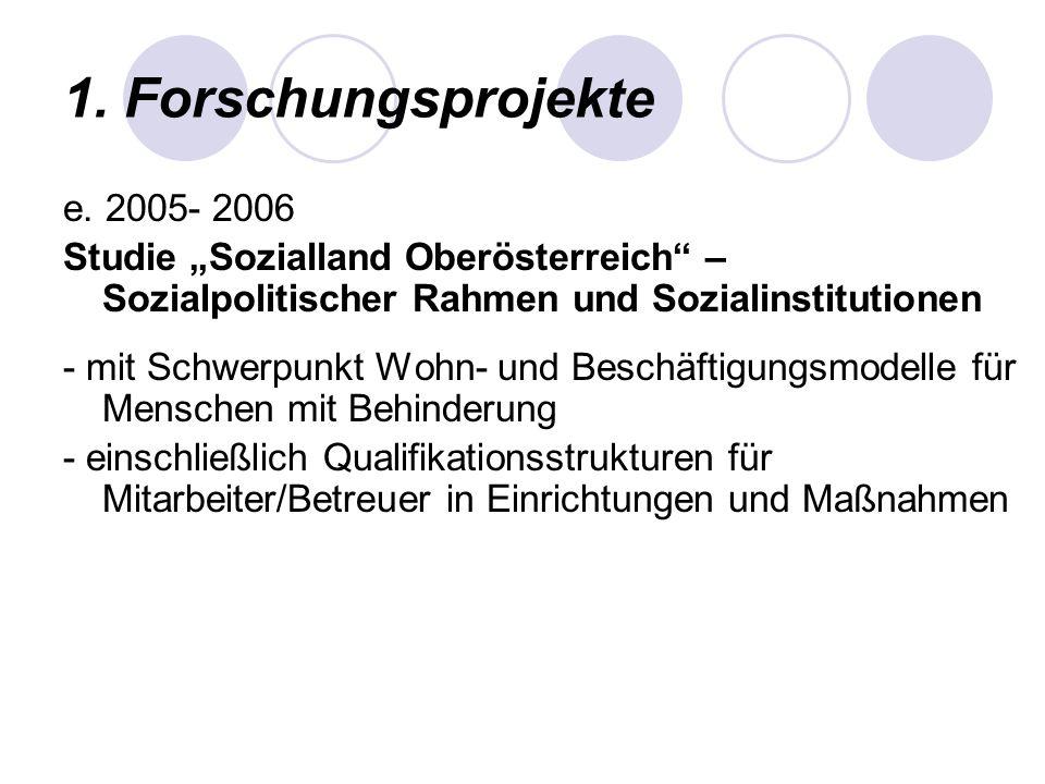 1. Forschungsprojekte e. 2005- 2006 Studie Sozialland Oberösterreich – Sozialpolitischer Rahmen und Sozialinstitutionen - mit Schwerpunkt Wohn- und Be