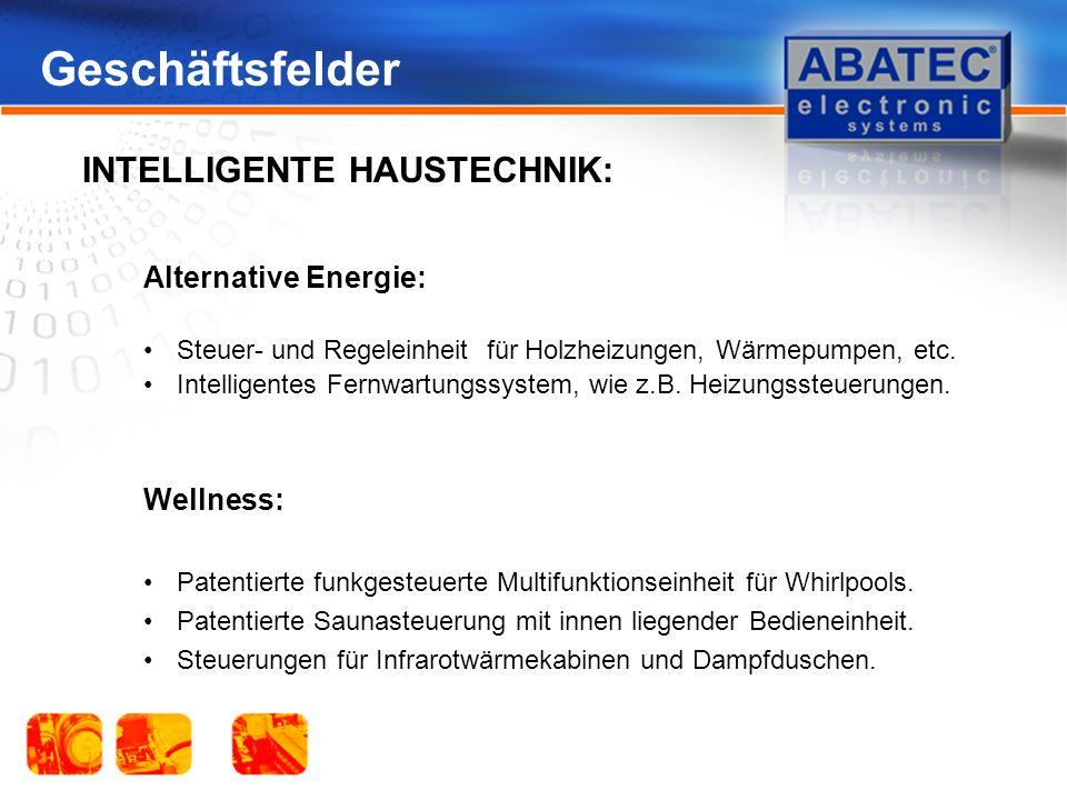 Geschäftsfelder Alternative Energie: Steuer- und Regeleinheit für Holzheizungen, Wärmepumpen, etc.