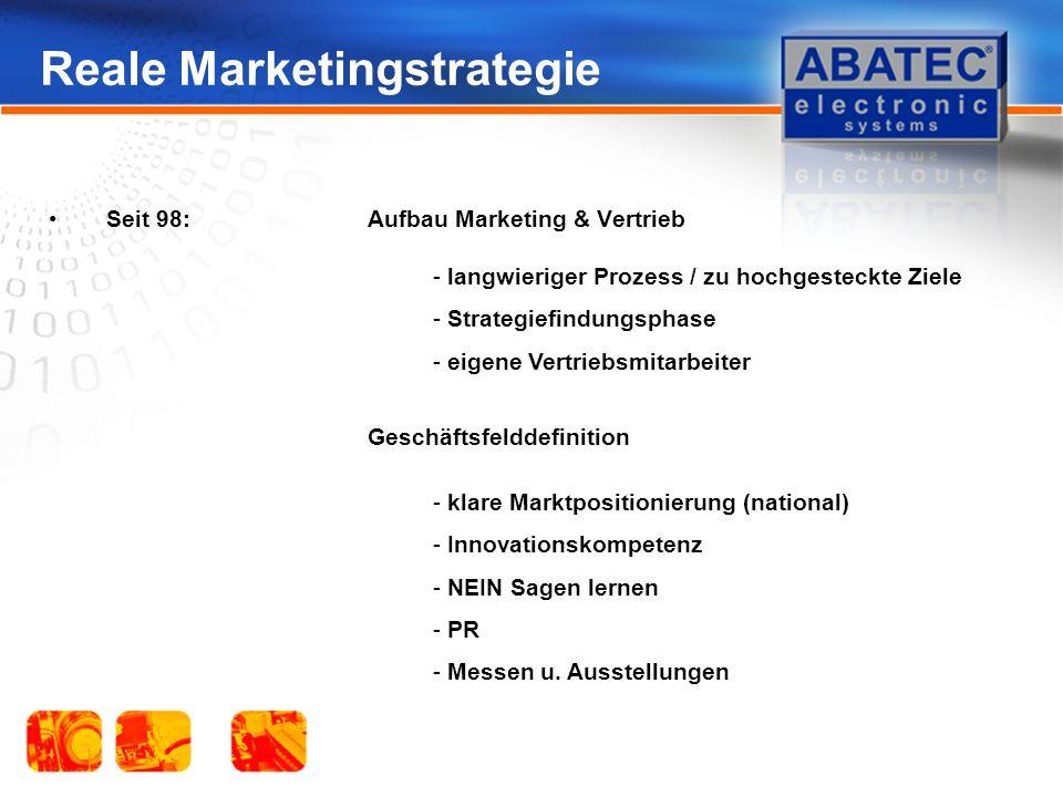 Reale Marketingstrategie Seit 98:Aufbau Marketing & Vertrieb - langwieriger Prozess / zu hochgesteckte Ziele - Strategiefindungsphase - eigene Vertriebsmitarbeiter - klare Marktpositionierung (national) - Innovationskompetenz - NEIN Sagen lernen - PR - Messen u.