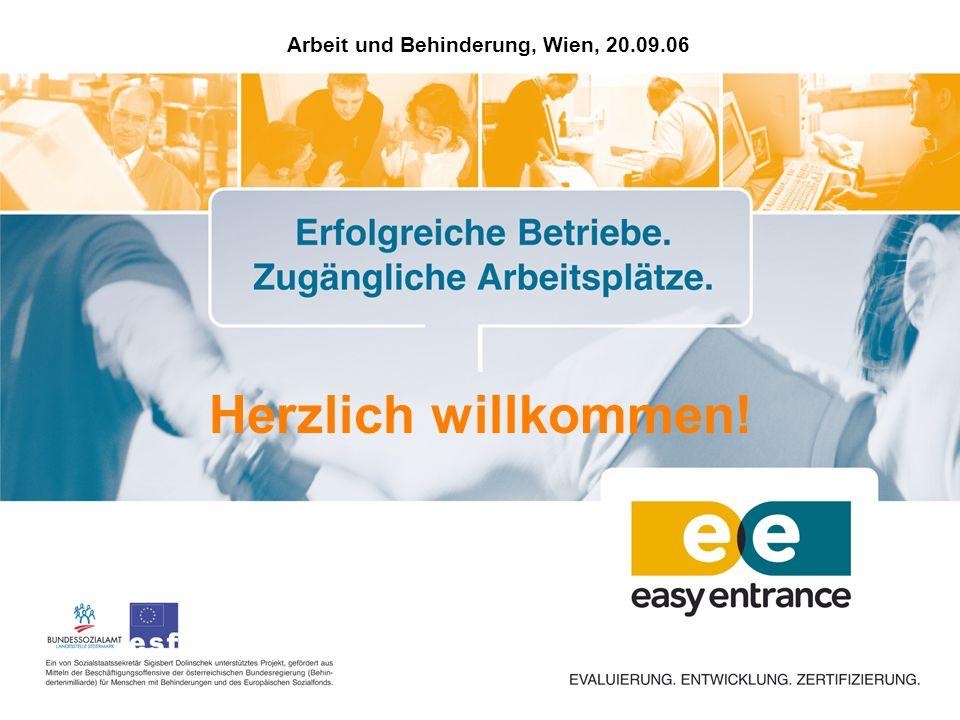 Arbeit und Behinderung, Wien, 20.09.06 Herzlich willkommen!