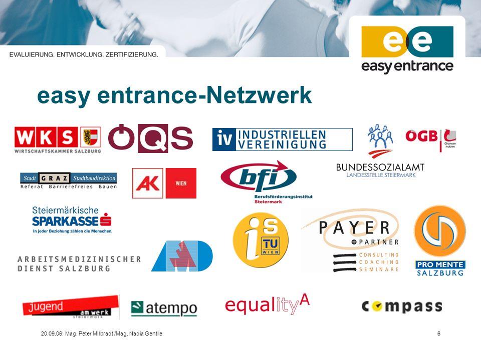 20.09.06: Mag. Peter Milbradt /Mag. Nadia Gentile6 easy entrance-Netzwerk