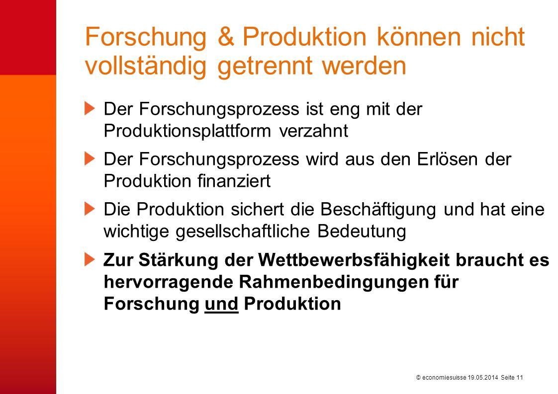 © economiesuisse Forschung & Produktion können nicht vollständig getrennt werden Der Forschungsprozess ist eng mit der Produktionsplattform verzahnt D