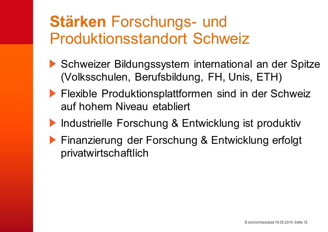 © economiesuisse Stärken Forschungs- und Produktionsstandort Schweiz Schweizer Bildungssystem international an der Spitze (Volksschulen, Berufsbildung