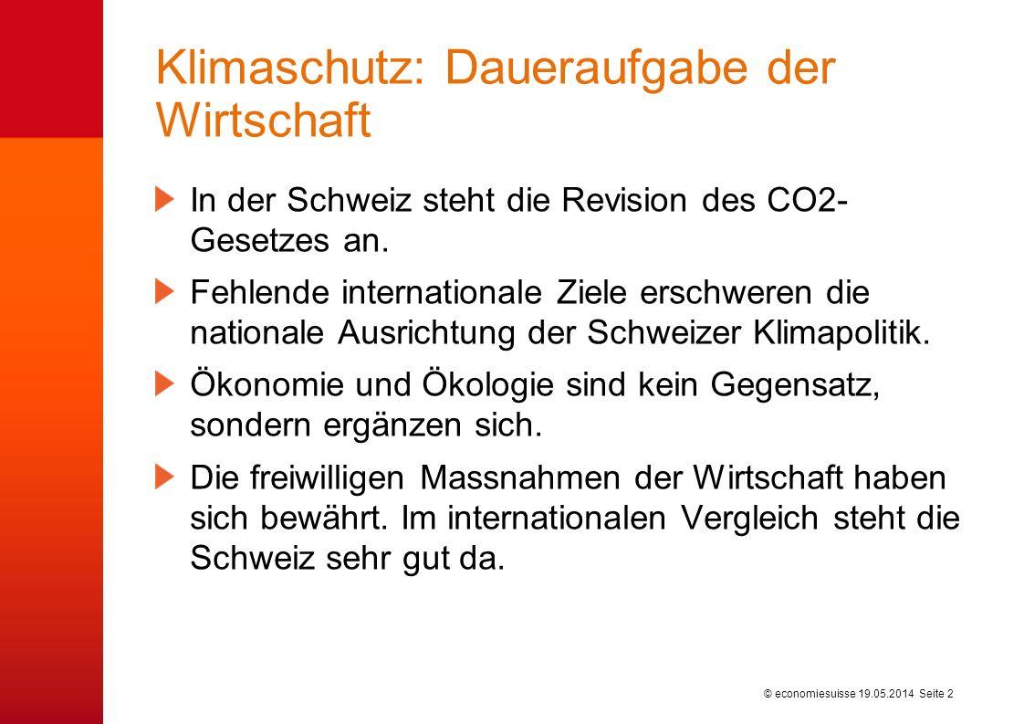 © economiesuisse Klimaschutz: Daueraufgabe der Wirtschaft In der Schweiz steht die Revision des CO2- Gesetzes an.