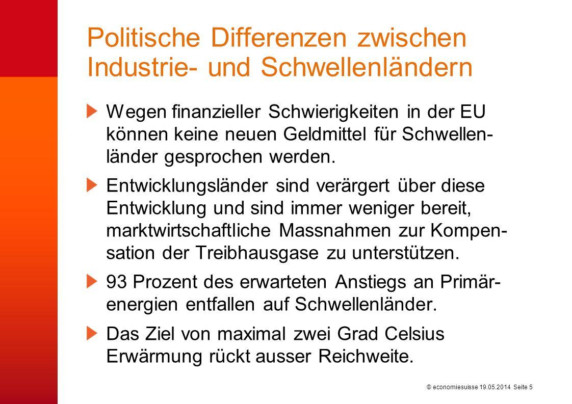 © economiesuisse Politische Differenzen zwischen Industrie- und Schwellenländern Wegen finanzieller Schwierigkeiten in der EU können keine neuen Geldmittel für Schwellen- länder gesprochen werden.