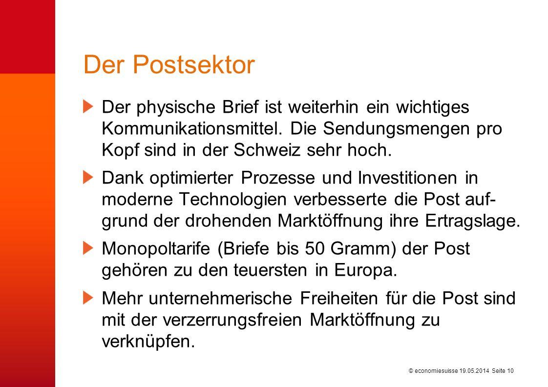 © economiesuisse Der Postsektor Der physische Brief ist weiterhin ein wichtiges Kommunikationsmittel. Die Sendungsmengen pro Kopf sind in der Schweiz