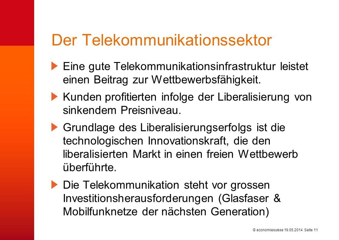 © economiesuisse Der Telekommunikationssektor Eine gute Telekommunikationsinfrastruktur leistet einen Beitrag zur Wettbewerbsfähigkeit. Kunden profiti