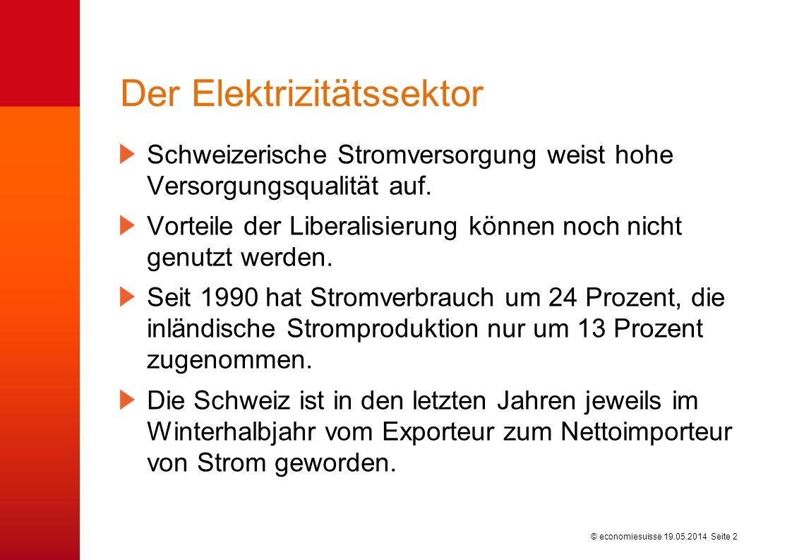 © economiesuisse Der Elektrizitätssektor Schweizerische Stromversorgung weist hohe Versorgungsqualität auf. Vorteile der Liberalisierung können noch n