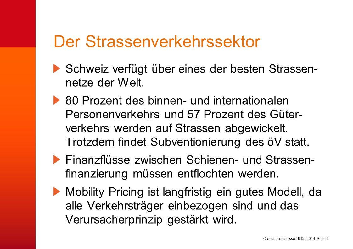 © economiesuisse Der Strassenverkehrssektor Schweiz verfügt über eines der besten Strassen- netze der Welt. 80 Prozent des binnen- und internationalen
